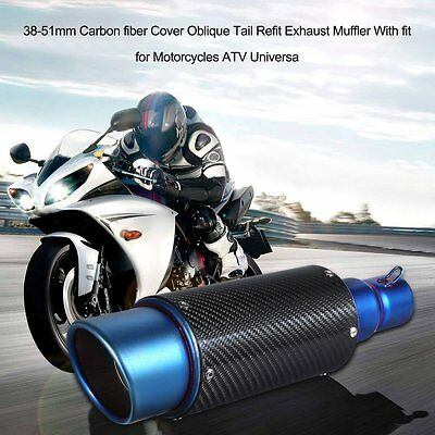 38-51mm Universal Motorcycle Exhaust Muffler Pipe Modified Pipe Carbon Fiber FA