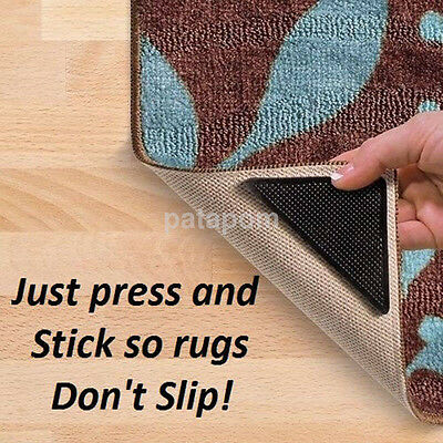 4 Black Washable Carpet Mat Pad Anti-slip Rug Grippers With 4 Sticky Pads AU