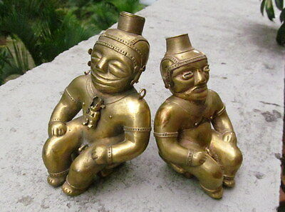 RARE OLD COLOMBIAN GOLD COPPER TUMBAGA - Pair-male and female Shamans urns