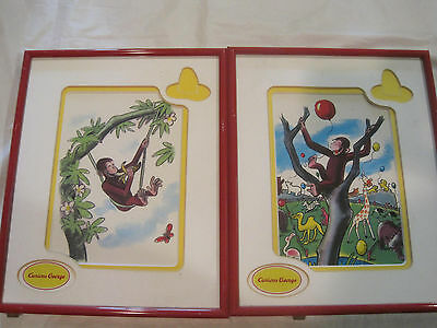 Lot of 2~Curious George Framed numbered prints~CG08 CG10~Free Ship~LBDLI