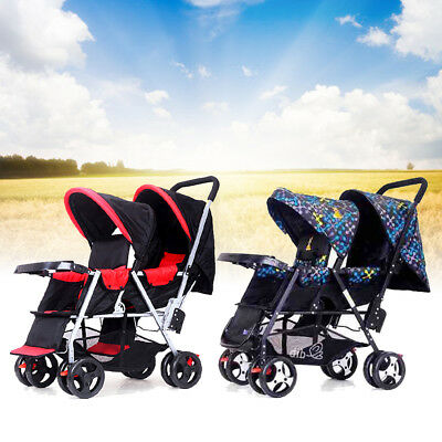 Foldable Twin Baby Double Stroller Kids Jogger Travel Infant Pushchair Red/Black