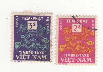 1955 South VIETNAM DRAGONS x 2 stamps to 3p. face value - SG#SD1-SD2  CTO