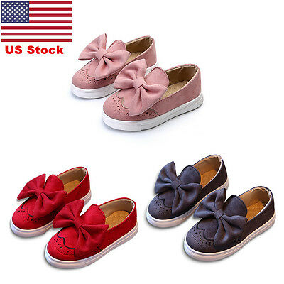 US Kids Girls Bow Knot Lace Slip On Pumps Casual Shoes Children Suede Toddler