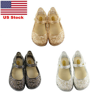 US Kids Girls Slip On Casual Shoes Children Jelly Shoes Hollow Hook& Loop Sandal