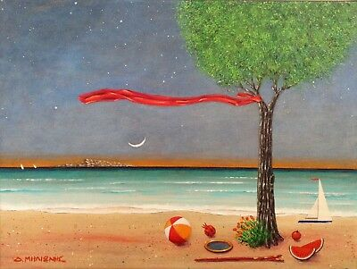 "Dimitris C. Milionis ""TREE & RED RIBBON"" Acrylic Painting Signed Greek 2012"