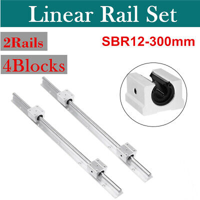2 X SBR12-300mm 12MM Linear Bearing Rail Slide Guide Shaft + 4Pcs SBR12UU Blocks