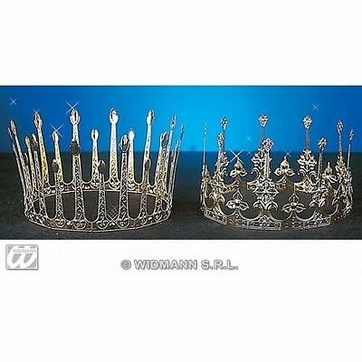 Gold Aluminium Crown Queen Decorative Regal Snow Hearts Fancydress Tiara