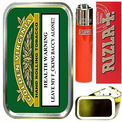 GOLDEN VIRGINIA SMOKING SET, GOLD 1oz TOBACCO TIN,LIGHTER, PAPERS & FILTERS