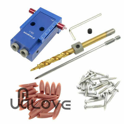 Pocket Hole Drilling Jig + Step Bit Woodworking Joinery Tool Kit Kreg System UK