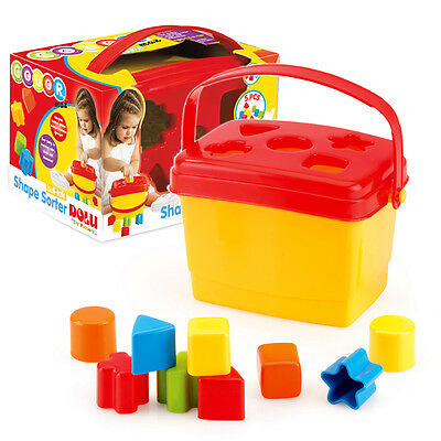 Toddler Kids Brightly Coloured Block Shape Sorter Bucket Carry Handle NEW