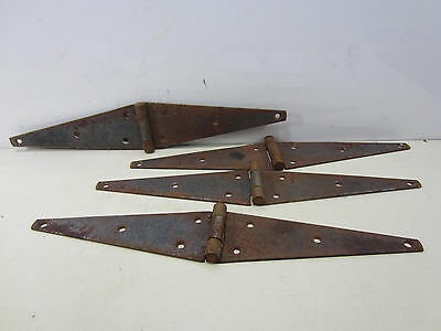4 Vintage Large Steel Barn Door Strap Hinges