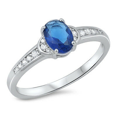 925 Sterling Silver Sapphire Blue Oval Cubic Zirconia CZ Accent Solitaire Ring