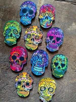 Day of the Dead Head! New set of 10 Tie-Dye colored  Sugar Skulls Laser Cut