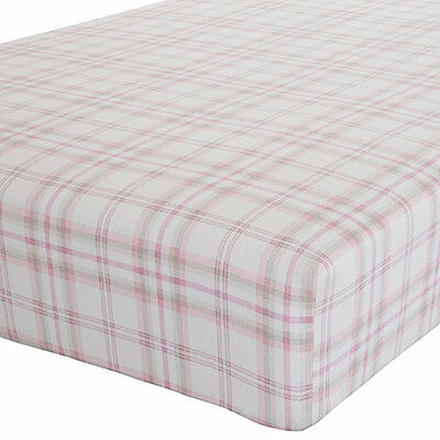 Canterbury, Pink Check Single Fitted Sheet - 100% Brushed Cotton