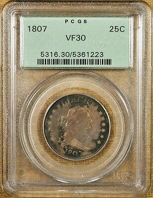 1807 B-2 PCGS VF30 Draped Bust Quarter - Old Green Holder