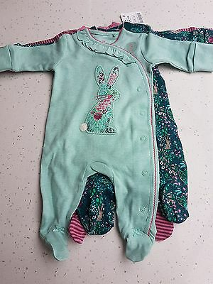 Next Girls Sleepsuits Up to 1 month 10lbs Teal Bunny BNWT