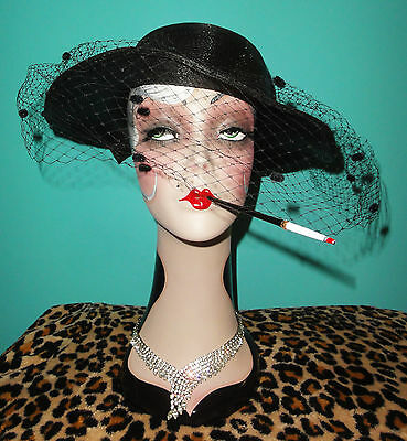 Vintage Cocktail Hat Veil pinup girl gatsby flapper retro 1950 rockabilly gothic