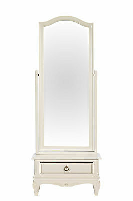 Bordeaux Antique White Solid Wood French Louis Shabby Chic Cheval Mirror
