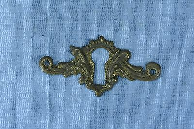 Antique FANCY VICTORIAN CAST BRASS KEY HOLE COVER ESCUTCHEON HARDWARE OLD #03739
