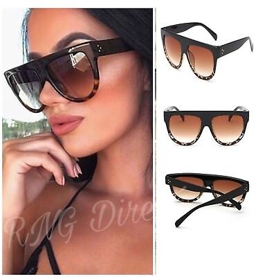 Black Flat Top Shadow Sunglasses Women's Tortoise Shield Luxury Oversized UK