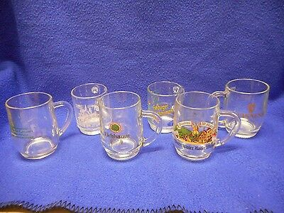 6 Different Glass Beer Mugs, Great Graphics. FREE SHIPPING!