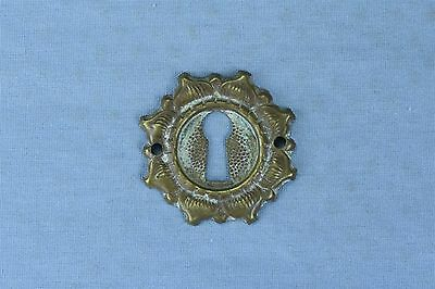 Antique FANCY VICTORIAN PRESSED BRASS KEY HOLE COVER ESCUTCHEON HARDWARE #03766