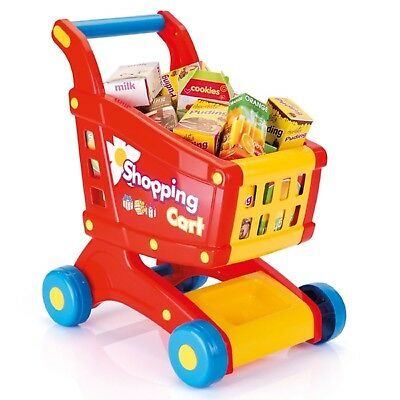 Kids Shopping Cart Trolley Basket Role Play Toy Set Plastic Fruit Food Xmas Gift