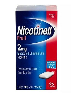 Nicotinell Fruit 2mg Medicated Chewing Gum Sugar Free 96 Pieces Exp02/18