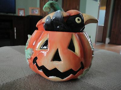 Fitz And Floyd Essentials Jack O' Lantern Crow Lidded Box