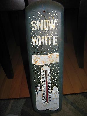 Old Snow White Soda metal advertising thermometer soda sign