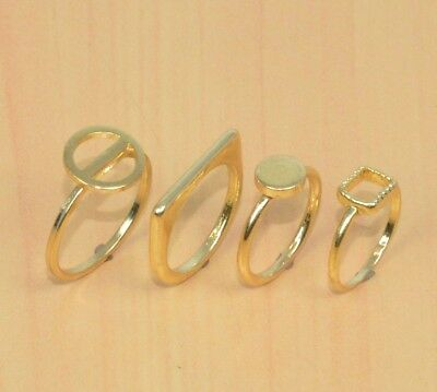 Wholesale 3Pc 925 Solid Brass Plain Classic Ring Jewelry Lot L100