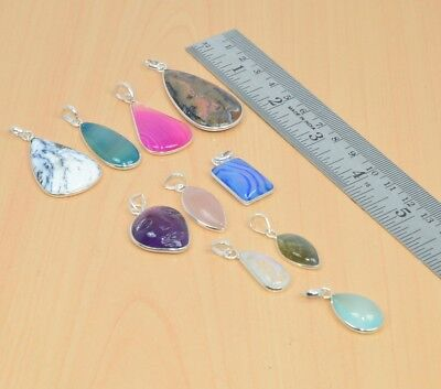 Wholesale 10Pc 925 Solid Sterling Silver Pink Botswana Agate Pendant Lot L092