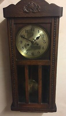 "Glazed & Carved Oak Case Striking Wall Clock 30""L10.5""W 5.5""D GWO"
