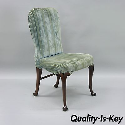 Antique Mahogany Wood Queen Anne Style Upholstered Dining Side Desk Chair A