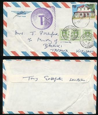 KIRIBATI POSTAGE DUES on COMMERCIAL AIRMAIL from FIJI TONY EASTGATE LAUTOKA