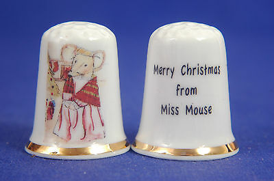 Merry Christmas From Miss Mouse China Thimble B/130
