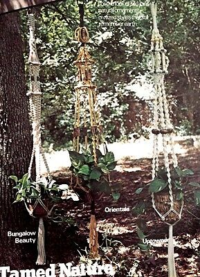 Natural Knots Macrame Plant holders, Wall Hangings, Hanging Tables. Vintage 1976