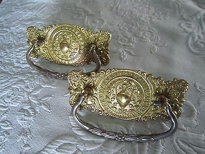 2 Antique Ornate Brass DRESSER DRAWER BAIL HANDLES PULLS  c1940's *FREE SHIPPING
