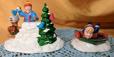 Dept 56 Snow Village Round & Round We Go Saucer Sled AND Snowball Fort Kids *