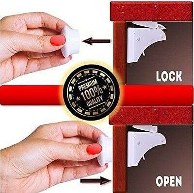 Magnetic Safety Cabinet Locks - 8 Magnetic Locks + 2 Keys - Absolute Protection