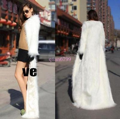 HOT Womens Faux Fur Long Coats Winter Loose Fake Fur Full Length Trench Jackets