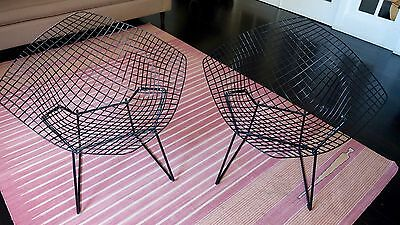 Pair of Authentic Bertoia Diamond Chairs by Knoll, Mid-century Modern Not Repro