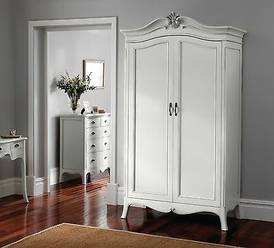 Ava Antique White Hand Carved French Style 2 Door Mirrored Wardrobe / Armoire