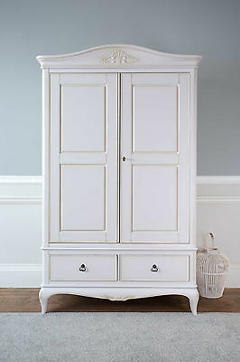 Bordeaux Antique White Mahogany French Style Shabby Chic 2 Door Wardrobe