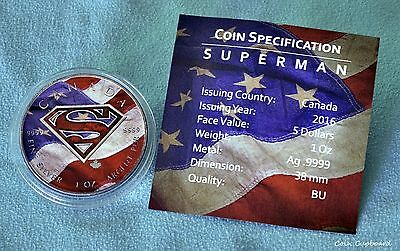 2016 - CAN $5 Superman S-SHIELD & US Flag - 1 oz .9999 silver coin w / pack'g