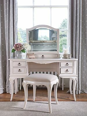 Bordeaux Antique White Mahogany French Style Shabby Chic Dressing Table & Mirror