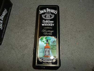 Jack Daniels collectable metal tin and glass  empty bottle