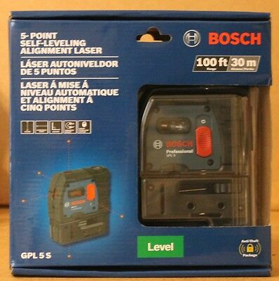 NEW Bosch GPL 5 S Self-Leveling Alignment Laser 5-Point 100' ft