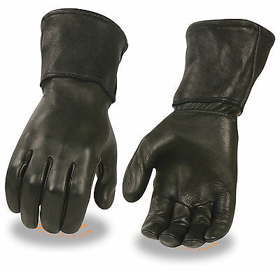 Men's Deerskin Leather Thermal Lined Long Cuff Motorcycle Gloves Size Large