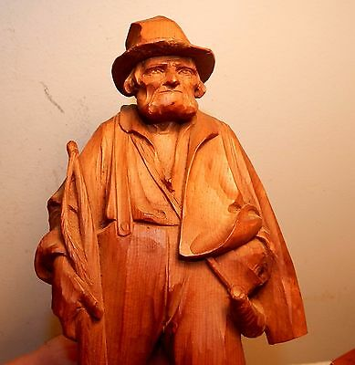 1926 Ortisei Italy Wood Carving of a Man by Noted Artist / Albino Pitscheider